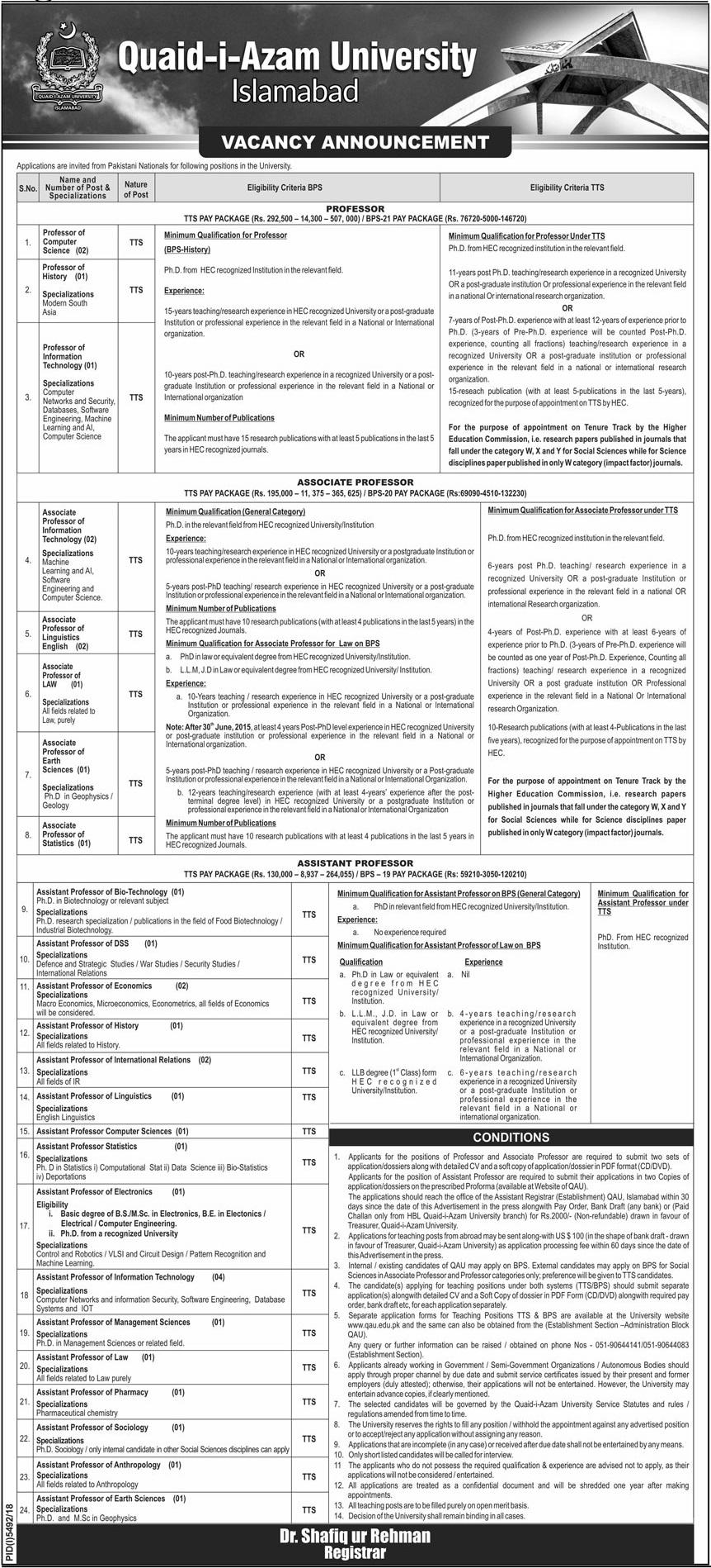 Quaid e Azam University Jobs 2019 in Islamabad