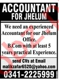 Accountant Jobs Career Opportunity in Jhelum