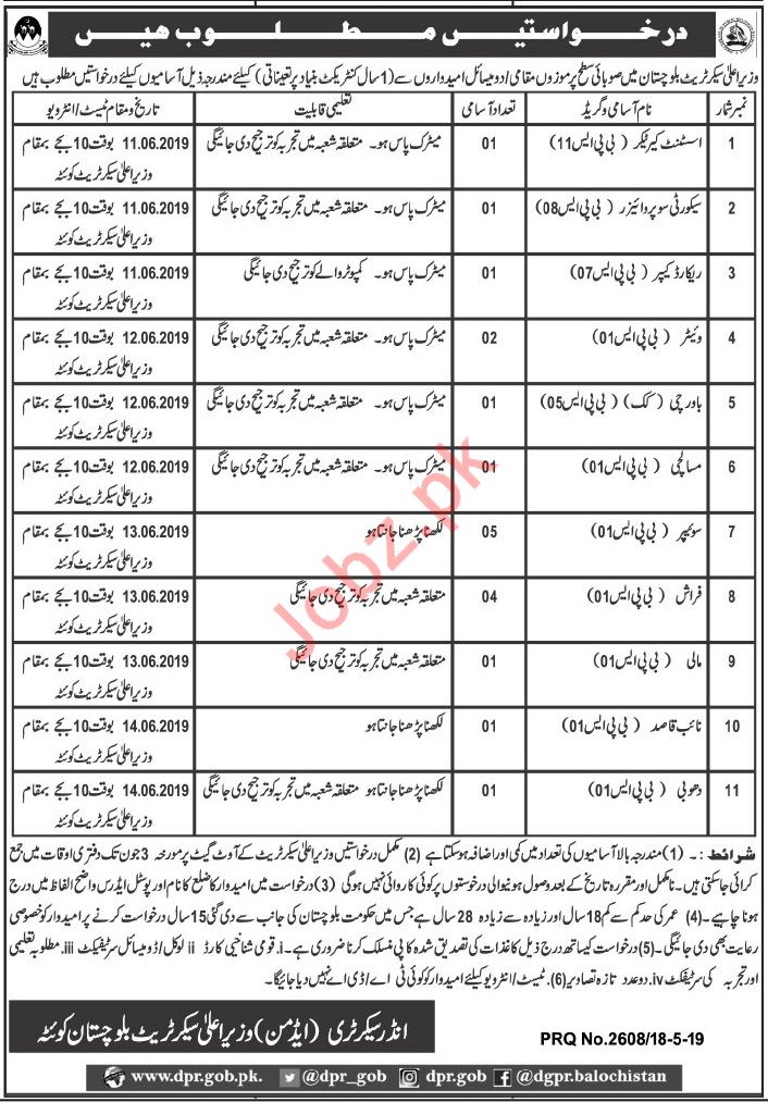 Chief Minister Secretariat Assistant Care Taker Jobs 2019