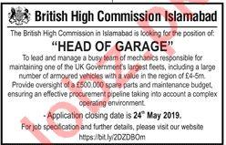 British High Commission Islamabad Head of Garage Jobs