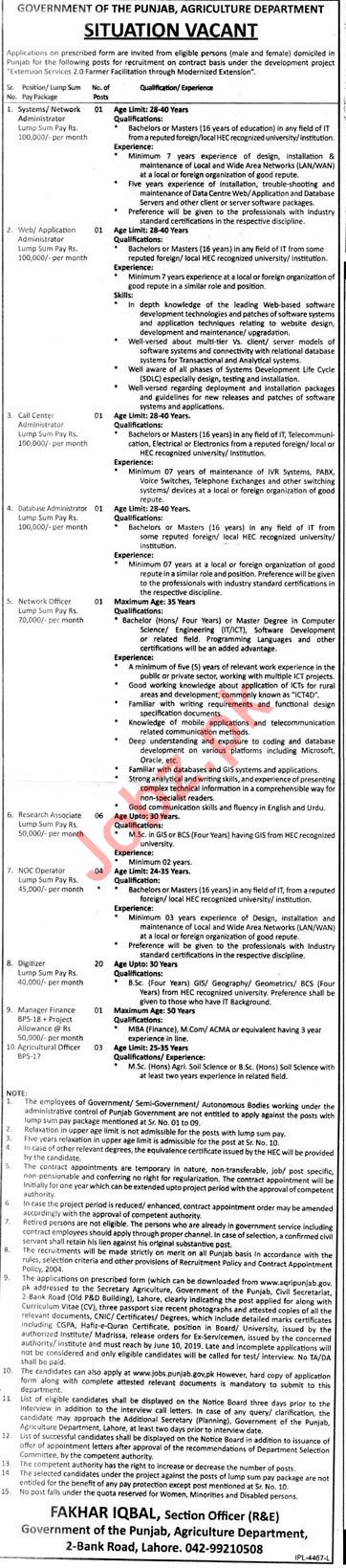 Agriculture Department Lahore Jobs 2019
