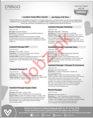 DVAGO Pharmacy & Wellness Experts Jobs 2019 in Karachi