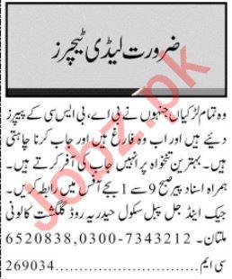 Lady Teacher Jobs Open in Multan