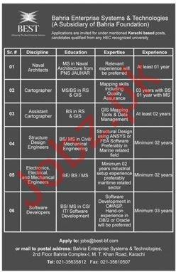 Bahria Enterprise System & Technologies BEST Jobs 2019