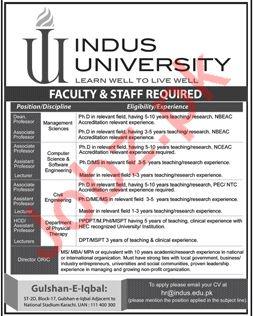 Indus University Teaching & Non Teaching Jobs 2019