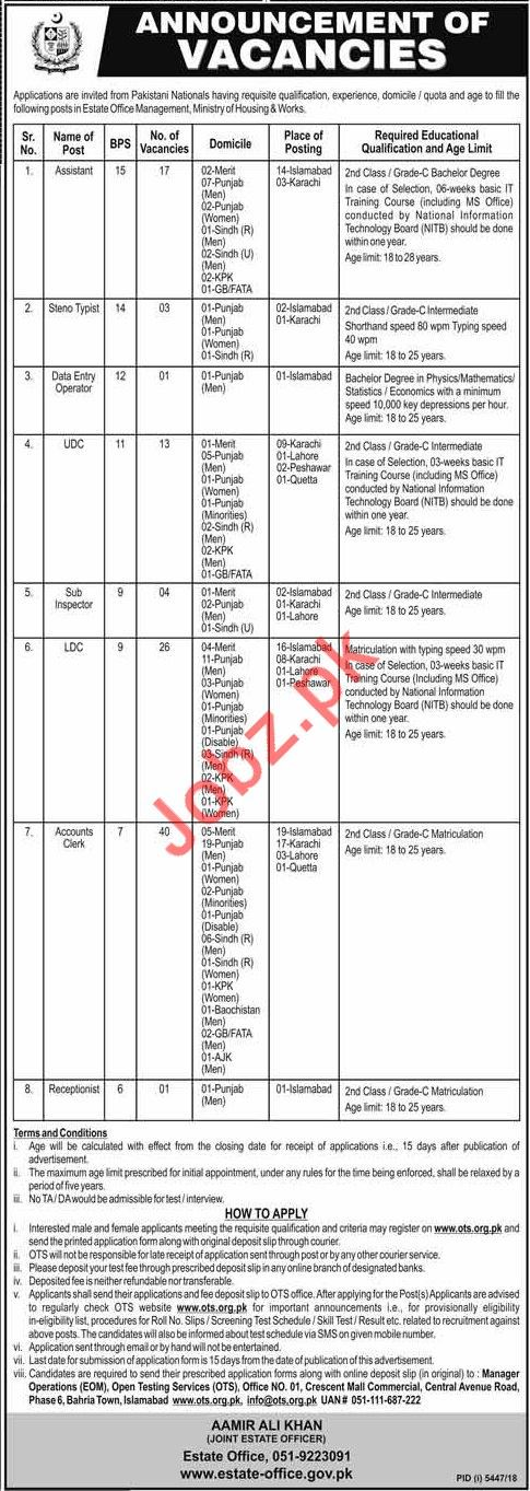 Ministry of Housing and Works Jobs 2019 via OTS