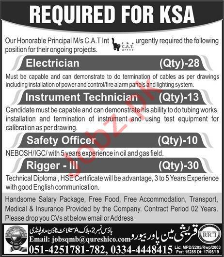 Electrician & Instrument Technician Job in Saudi Arabia