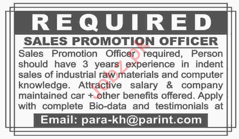 Sales Promotion Officer Jobs 2019 in Lahore