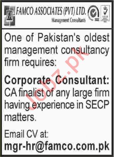 FAMCO Associates Karachi Jobs for Corporate Consultant