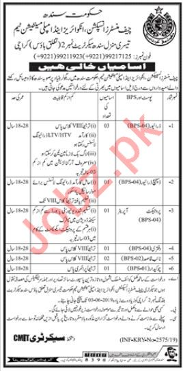 Chief Minister Inspection Team Jobs 2019 For Karachi