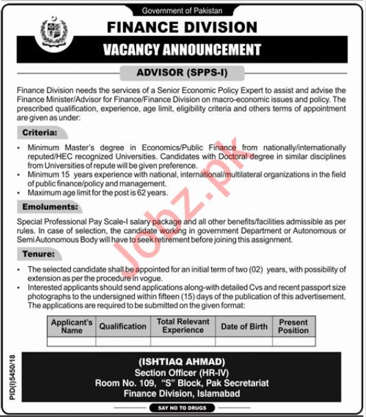 Finance Division Job 2019 For Advisor in Islamabad