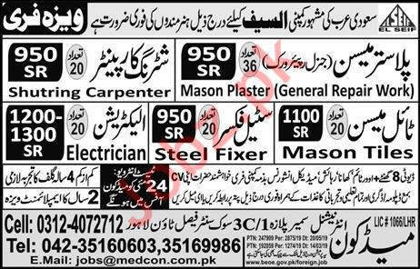 Plaster Mason & Shuttering carpenter Jobs in Saudi Arabia