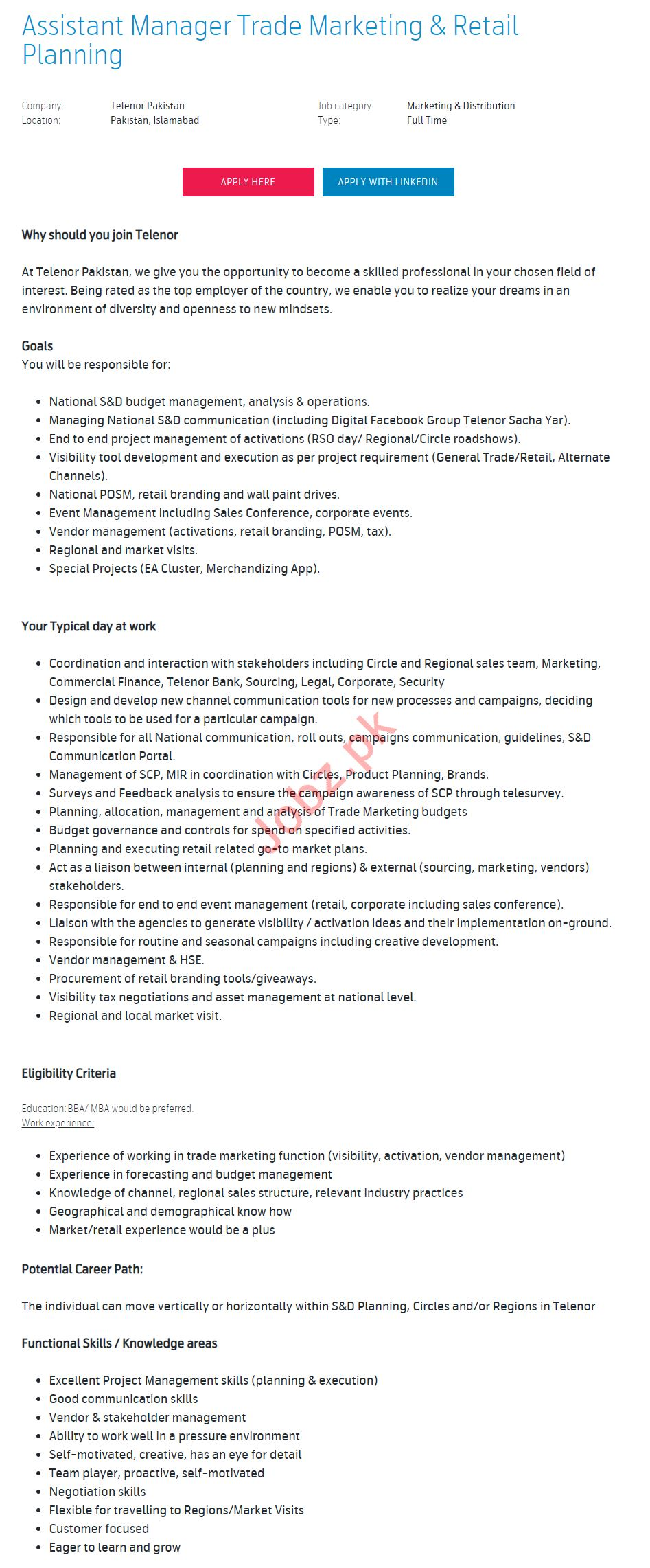Assistant Manager Trade Marketing & Retail Planning Jobs
