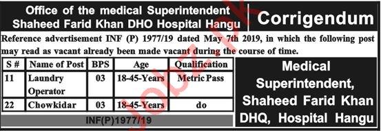 Shaheed Farid Khan DHO Hospital Hangu Jobs 2019