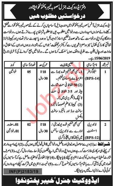 Advocate General Office Clerical Jobs 2019