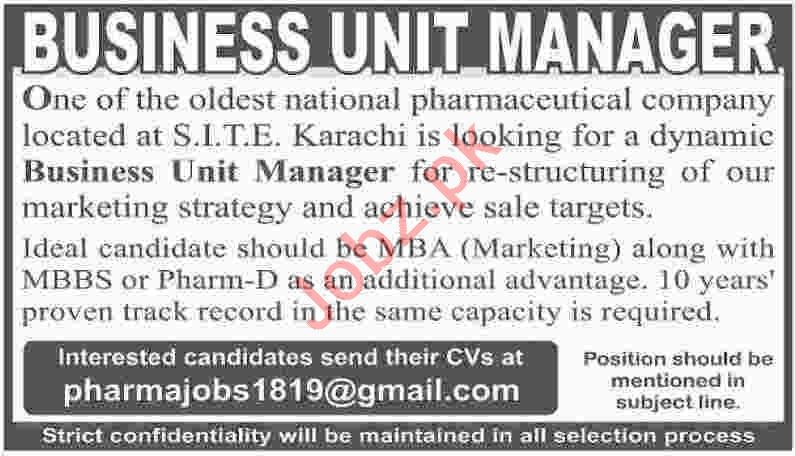 Business Unit Manager Jobs 2019 in Karachi