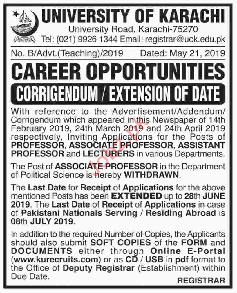 University of Karachi Jobs 2019 for Professors