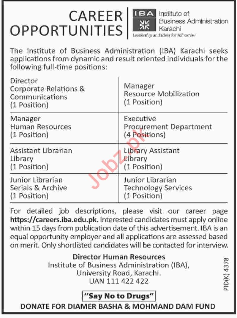 Institute of Business Administration IBA Karachi Jobs 2019