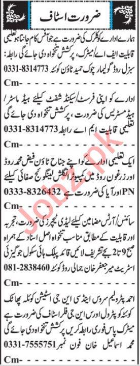 Male & Female Teachers Jobs 2019 in Quetta