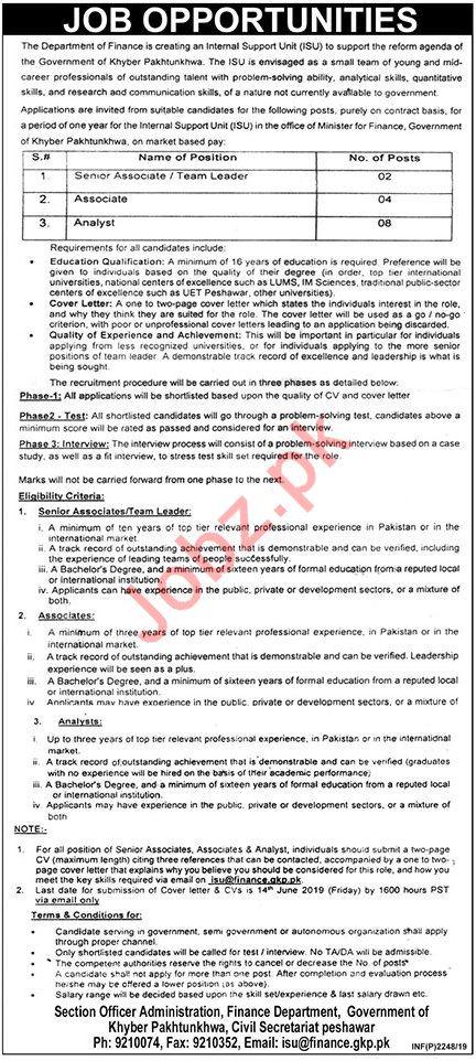 Finance Department Civil Secretariat KPK Jobs 2019