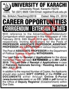 University of Karachi Faculty Jobs 2019 For Karachi