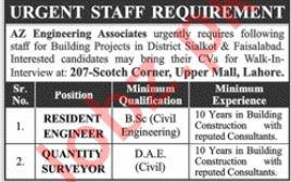 Resident Engineer & Quantity Surveyor Jobs 2019 in Lahore