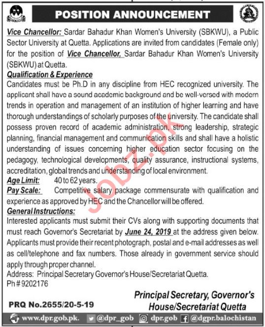 Sardar Bahadur Khan Women University SBKWU Job 2019