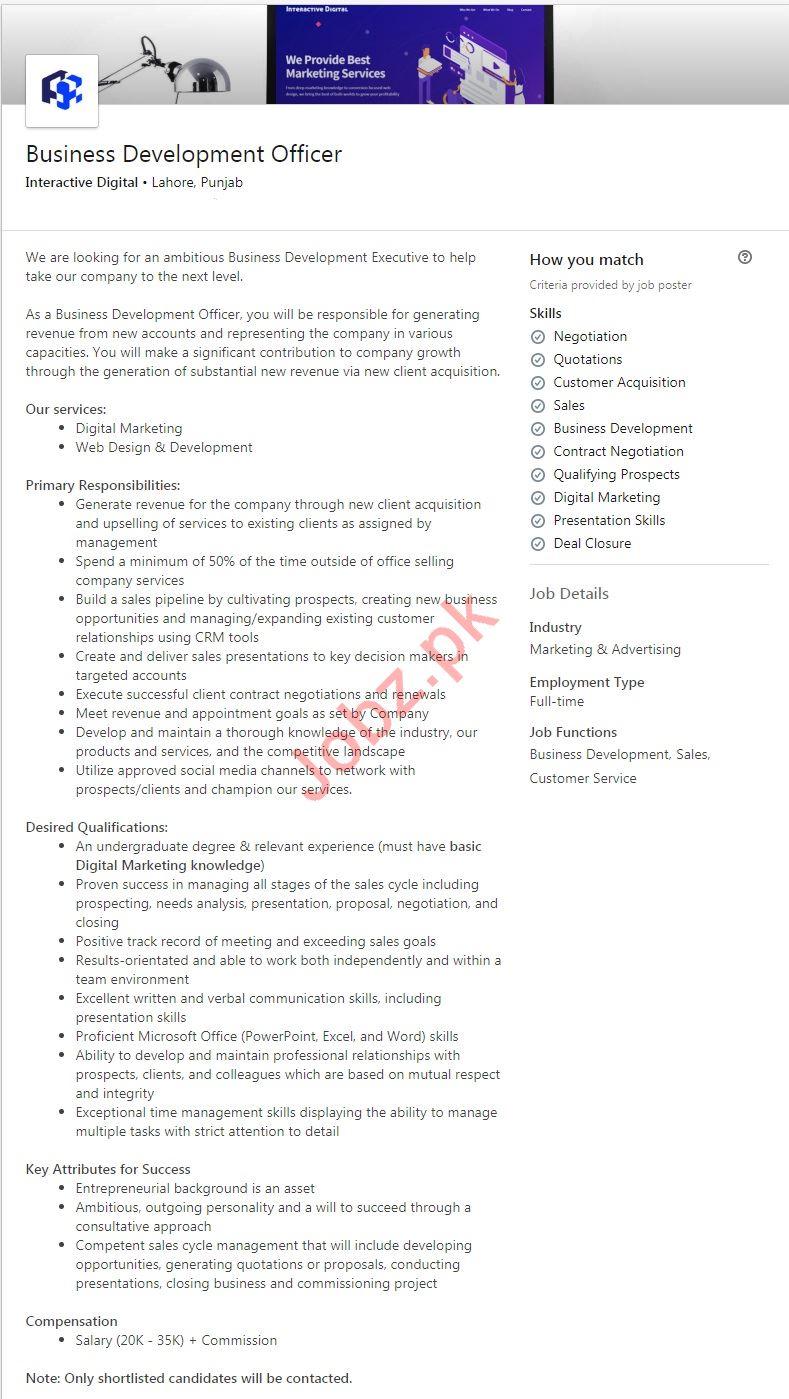 Interactive Digital Jobs for Business Development Manager