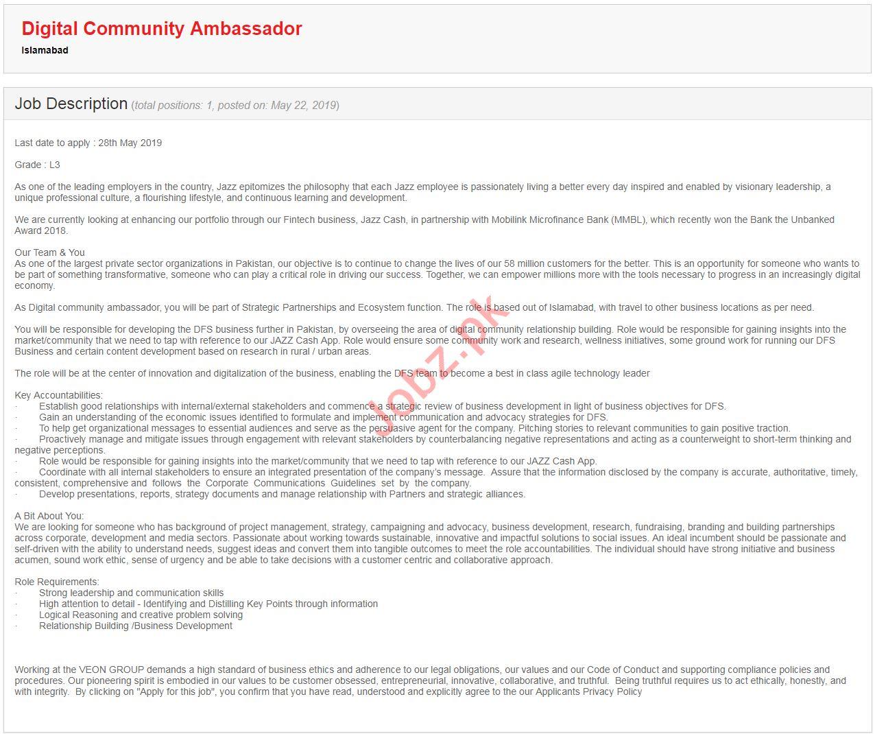 Digital Community Ambassador Jobs in Jazz Telecommunication