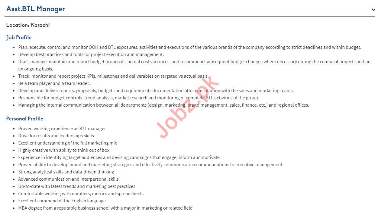 Assistant BTL Manager Jobs 2019 in Karachi