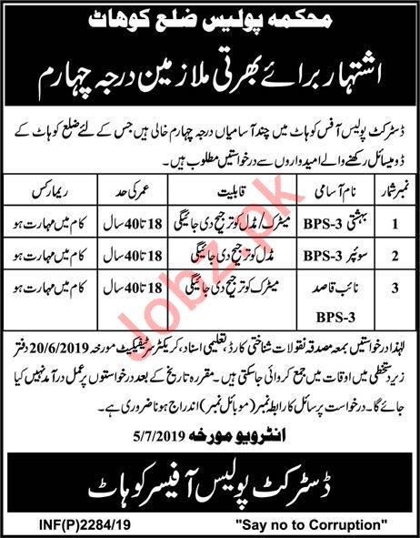 District Police Office Bahishti Sweeper & Naib Qasid Jobs