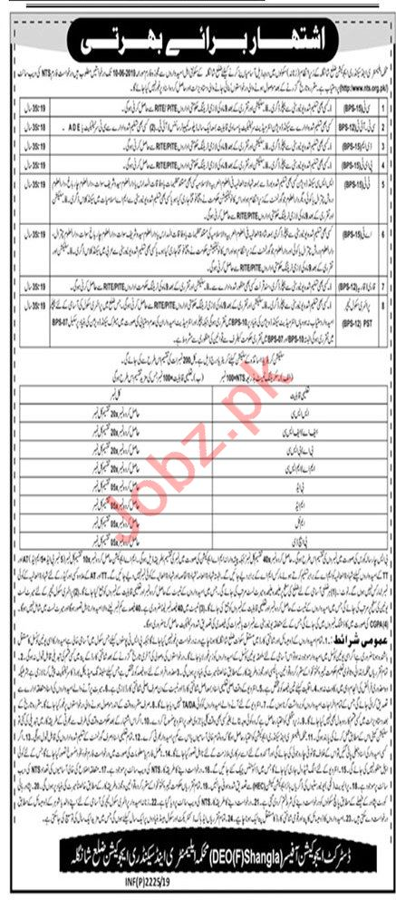 Elementary and Secondary Education Department Jobs via NTS