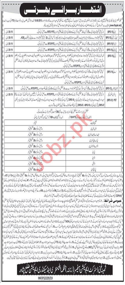 Elementary & Secondary Education Jobs For Peshawar via FTS