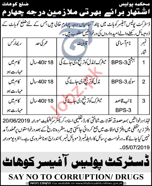 Police Department Kohat Jobs 2019