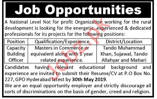 Capacity Building Officer NGO Jobs 2019 in Hyderabad
