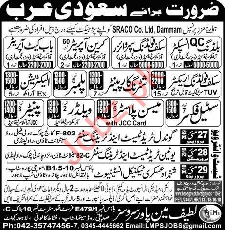 Electrician & Plumber Job in Saudi Arabia