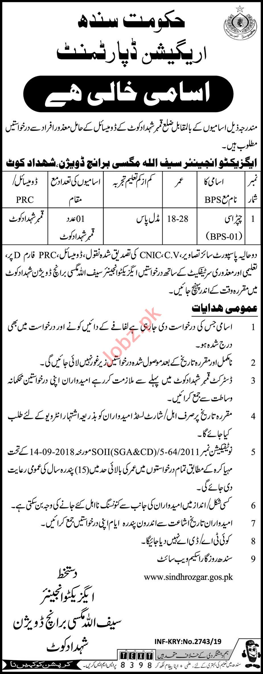 Irrigation Department Sweeper Job in Shahdadkot