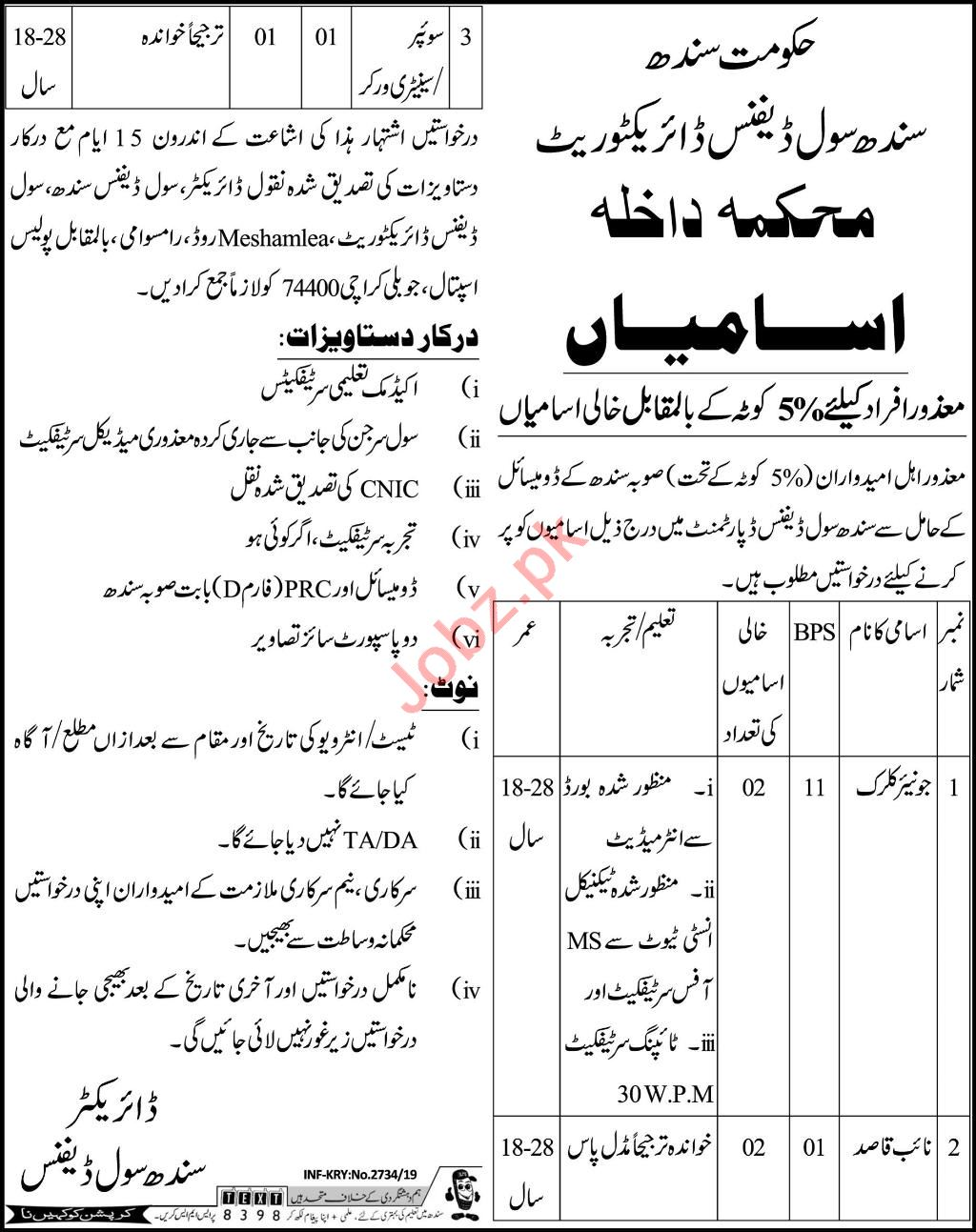 Civil Defence Office Clerk & Naib Qasid Job in Karachi
