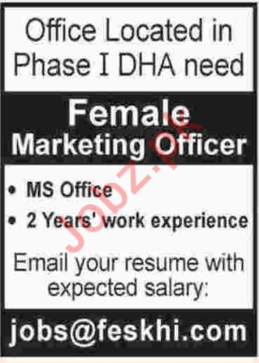 Female Marketing Officer Jobs 2019 in Karachi
