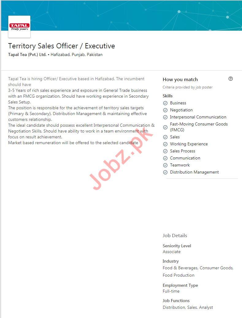 Tapal Tea Hafizabad Jobs for Territory Sales Executive