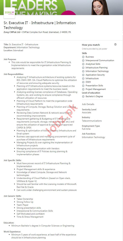 Zong Pakistan Jobs Senior Executive IT