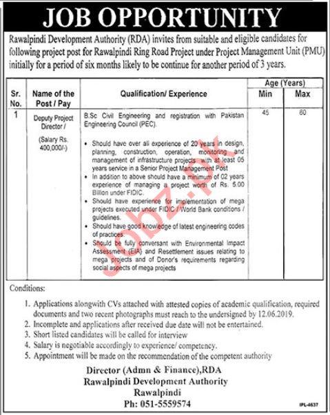 Rawalpindi Development Authority RDA Job 2019