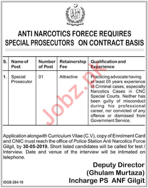 Anti Narcotics Force Job 2019 For Special Prosecutor