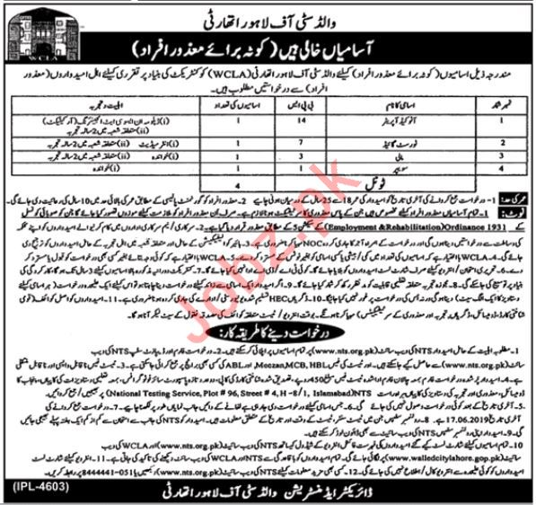 World City of Lahore Authority WCLA Jobs 2019 via NTS