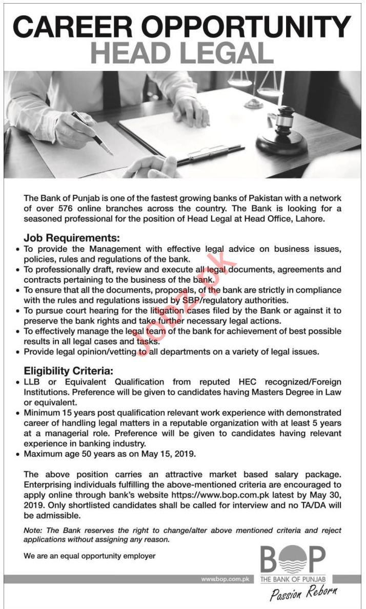 The Bank of Punjab BOP Jobs for Head Legal