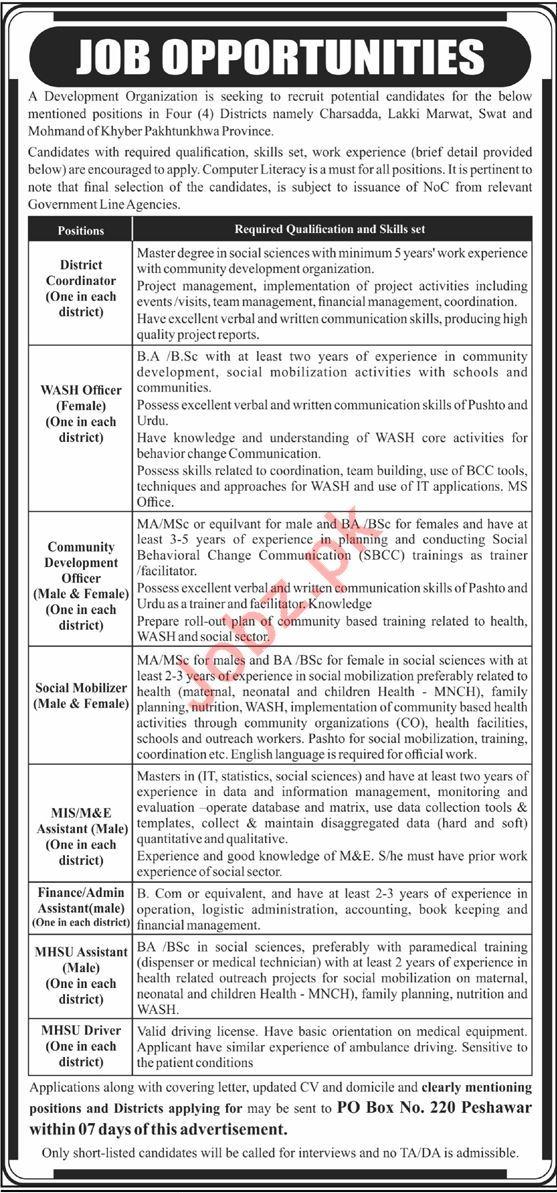 Development Organization Jobs in Charsadda, Swat, Mohmand