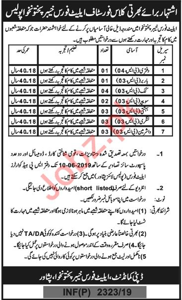 Elite Police Force Khyber Pakhtunkhwa KPK Jobs 2019