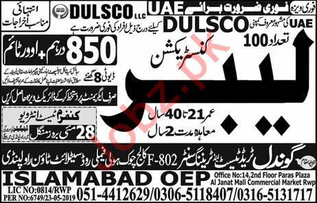 Dulsco LLC Job For Construction Labor in UAE
