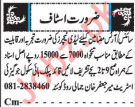 Science Teachers & Arts Teachers Jobs 2019 in Quetta