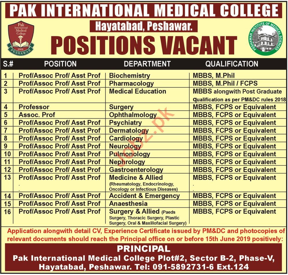 Pak International Medical College Teaching Jobs 2019